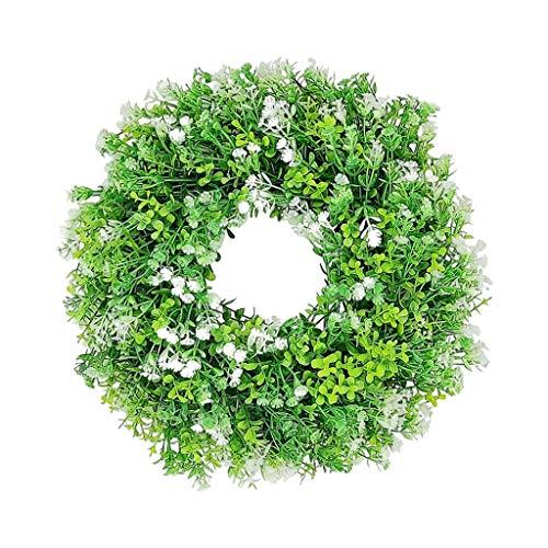 Baoblaze Decoración de Puerta Frontal de Corona de eucaliptus, Corona de Flores de gypofila de Granja de Primavera de Invierno de 12'Guirnalda Verde de Casa