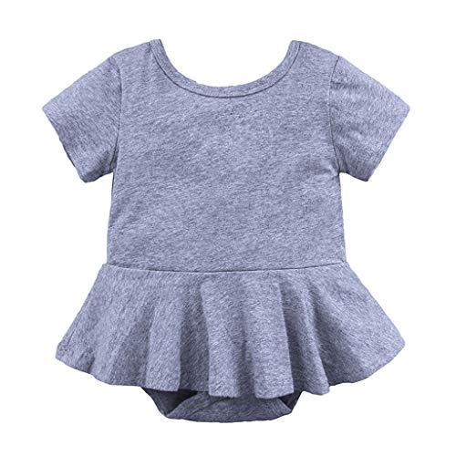SONIGER ʕ•ᴥ•ʔ Newborn Baby Girls Onesie Short Sleeve O Neck Swing Dress Rompers Cotton Soft Jumpsuit for Infant Toddler