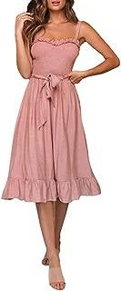 HIRIRI Women Summer Bohemian Spaghetti Strap Sundress Sexy Soild Bow Tie Off Shoulder Sleeveless Ruffle Dress