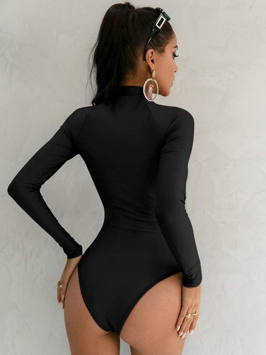 JYMBK Lace Jumpsuit Zip Up Raglan Sleeve Bodysuit (Color : Black, Size : M)