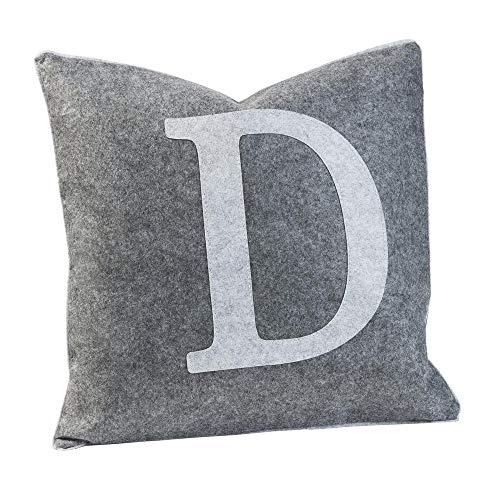 Luxdag - Funda de cojín de fieltro con letra D gris claro (letras a elegir) | máx. 40 x 40 cm, cojín para silla, cojín decorativo, con cremallera