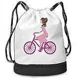 FedoraSale - Mochila de deporte para niña joven en París, diseño de bicicleta, unisex, talla única