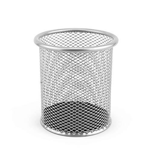 LEVIATAN 110484 Portalápices de malla metálica redondo | Portalápices de escritorio, estable | color plata | diámetro de 91 mm