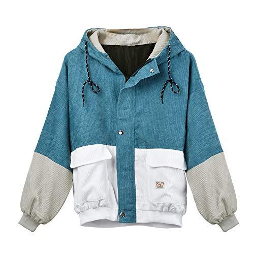 Mingfa Damen Langarm Kapuzenpullover Mantel Kord, Patchwork Reißverschluss Sweatshirt Übermantel Gr. S, Blue-b
