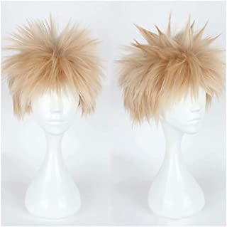 NiceLisa Unisex Short Spiky Fluffy Light Blonde School Boy Academia Anime Hero Style Cosplay Costume Party Wigs