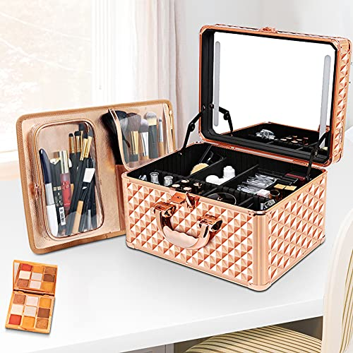 WDSWBEH Valigia per Il Trucco del Treno, Scatola portaoggetti Portatile in Alluminio per Cosmetici con luci e Specchio, Borsa per Il Trasporto del Kit per l'organizzatore di Grandi truccatori