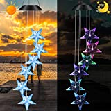 Yinuoday Solar Wind Chime, Color Changing Wind Chimes Blue Star LED Wind Chime Romantic Wind Bell for Patio Yard Garden Balcony Home Decoration