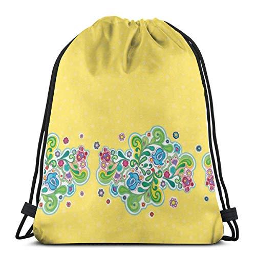 BXBX Trasportare Bags Folk Art Floral Retro Drawstring Bag Rucksack Bags for Sports, Shopping, Travel, Yoga, Gift Goodie Bags