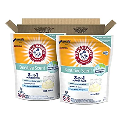 Arm & Hammer Sensitive Scent 5in1 Laundry Power Paks, 100 Count (Packaging may vary)