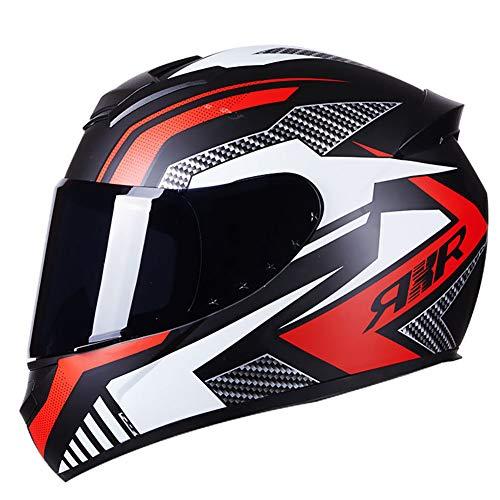 Dajie Casco de motocicleta todoterreno para motocicleta, casco de máscara abierta, visera antiniebla, casco de motocross, ATV, certificación D.O.T, rojo de moda, XXL