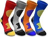 normani 4 Paar Multifunktionale Sportsocken mit Schienbein- und Fußrückenpolster Farbe Blau/Gelb Größe 43/46