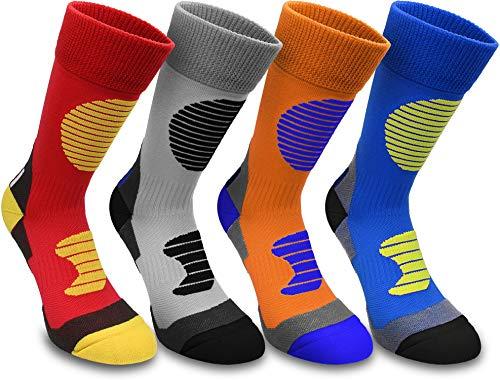 normani 4 Paar Multifunktionale Sportsocken mit Schienbein- & Fußrückenpolster Farbe Grau/Schwarz Größe 43/46