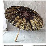 Gjrff Parapluie 16 Branches avec Manche en Bois, Parapluie Double Usage (Color : Black)