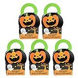 Hemoton 5 Piezas Mango Cajas de Dulces Papel de Dibujos Animados Hornear Galletas Galletas Cajas de Embalaje para Halloween Decoración de Halloween