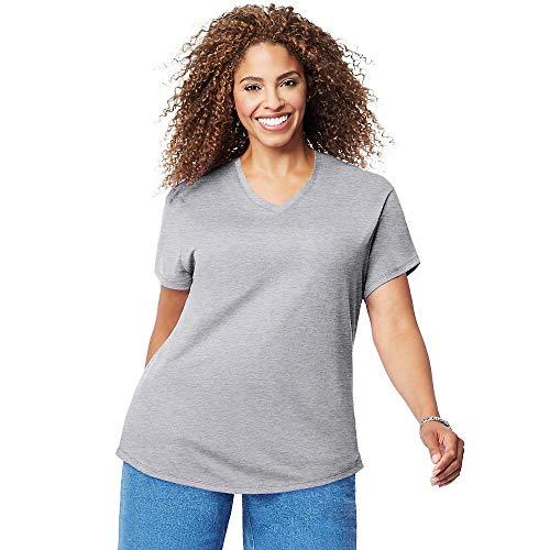 Just My Size Women's Plus-Size Short Sleeve V Neck Tee, Light Steel, 1X