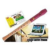 Flute Master (software di apprendimento) con flauto in acero di montagna, Rosso/naturale �...