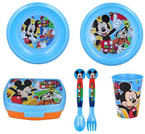 GERILEO Stoviglie per Bambini con 6 Pezzi di Mickey Mouse per Ragazzi e Ragazze. Contiene Piatto, Bicchiere, forchetta, Coltello, Ciotola e Scatola Sandwich (Mickey Mouse - 6 Pezzi)