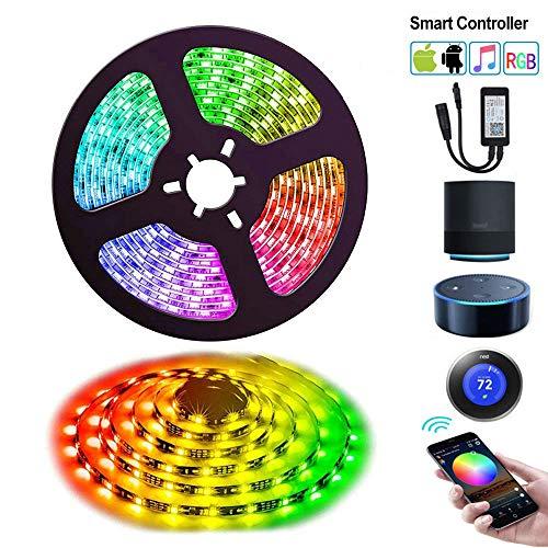 LED-strip, 5 m wifi-strip, waterdicht, 5050 RGB spraakbediening, met controller en voeding, decoratie voor huis