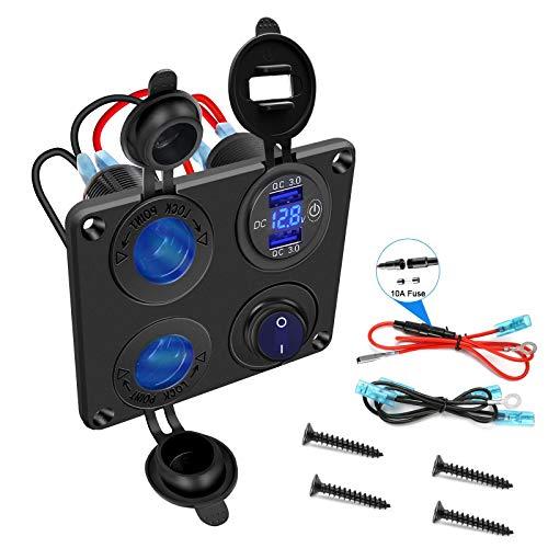 QC3.0 Dual USB de carga rápida, indicador LED de voltaje con interruptor táctil, 12 V, conector adaptador de coche para camión, barco, moto