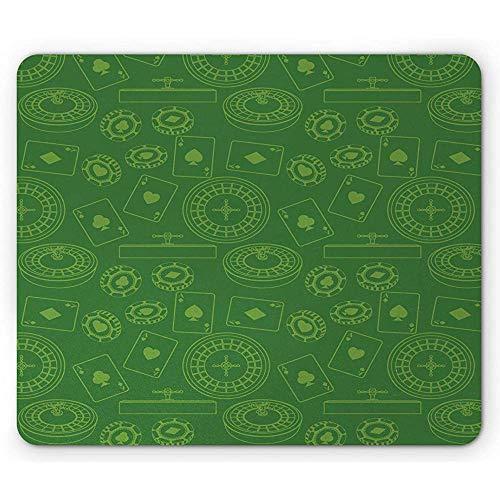 po-ker Mouse Pad, Herhaalde speelkaarten Roulette Tafel en Gaming Chips Patroon Illustratie Art Print,Varen Groen