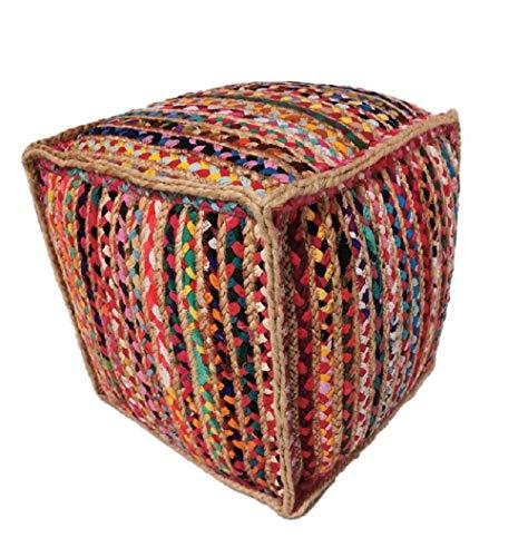 Jarapa Home Puff Cuadrado Mexi en Yute Multicolor, 45x45 cm. Hecho a Mano con Fundamentos de Comercio Justo