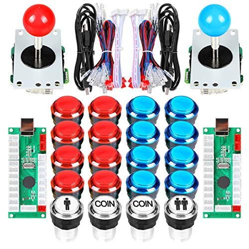 EG STARTS Arcade Cabinet Parts 2x 8 Way Joystick + 16x LED pulsador iluminado + 2 jugadores + botones de monedas para Raspberry Pi 3B Model Project DIY