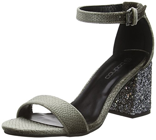 Boohoo Two Part Heel, Damen Sandalen, Grey (Grey Snake/Glitter), 39 EU (6 UK)