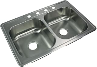Transolid STDE33227-4 Select 33-in x 22 1/64-in x 7-in Double Basin Drop-in Stainless Steel Kitchen Sink with 4 Faucet Holes