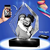 3D Crystal Photo - 3D Prestige Crystal Picture Engraved, Personalized & Custom Crystal with Free LED Base, Memorable Gift, and Keepsake, Small