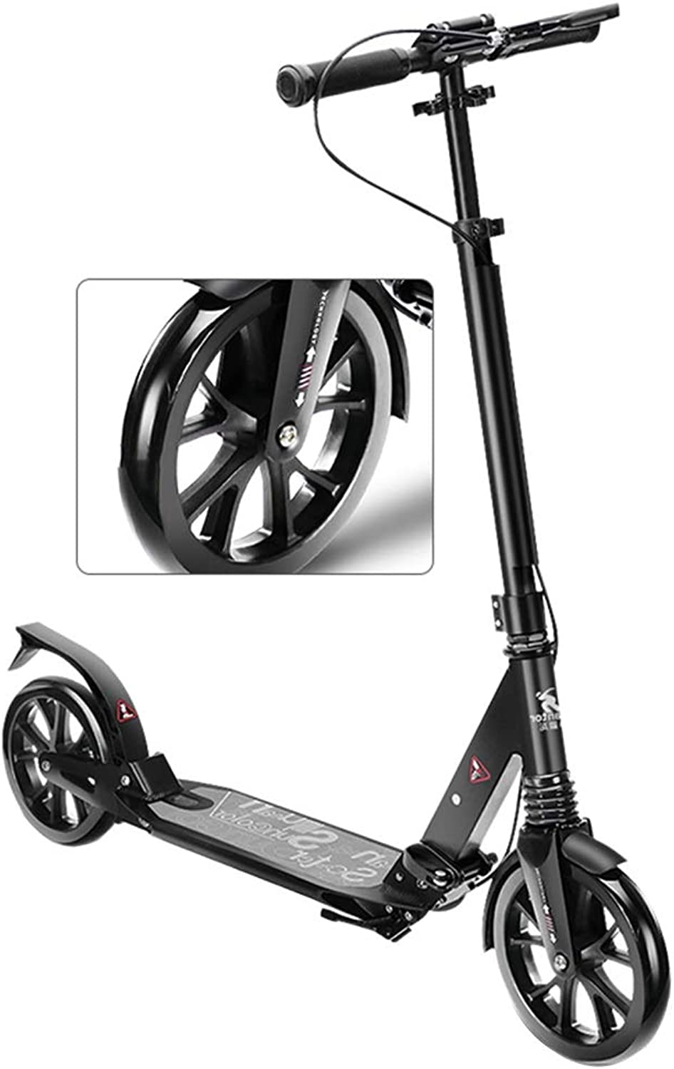 LXLA  Adjustable Foldable Adult Kick Scooter with Hand Brake, Front & Rear Suspension, 40mm ExtraWide Big Wheels, Supports 220lbs, NonElectric