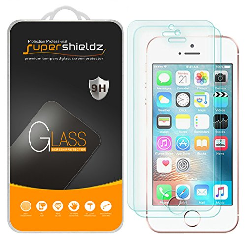 (2 Pack) Supershieldz Designed for iPhone SE (1st Gen, 2016 Edition), iPhone 5, iPhone 5S, iPhone 5C Tempered Glass Screen Protector Anti Scratch, Bubble Free