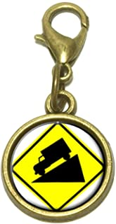 Steep Downhill Grade Ahead Basic Yellow Sign Cute Bracelet Pendant Charm