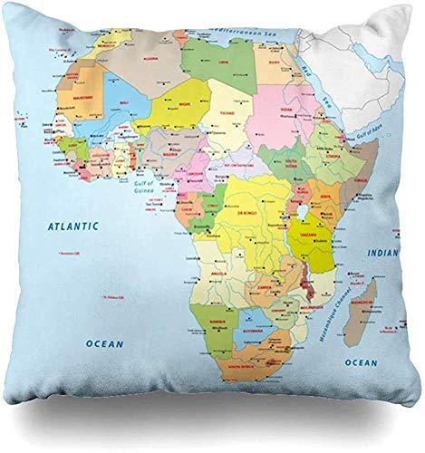 Roman Lin Funda de cojín Ciudades Azul Kenia África Mapa político Sudán del Sur Ruanda Uganda Diseño Burkina Cojín Cuadrado Sofá Funda de Almohada Decoración para el hogar Funda de Almohada
