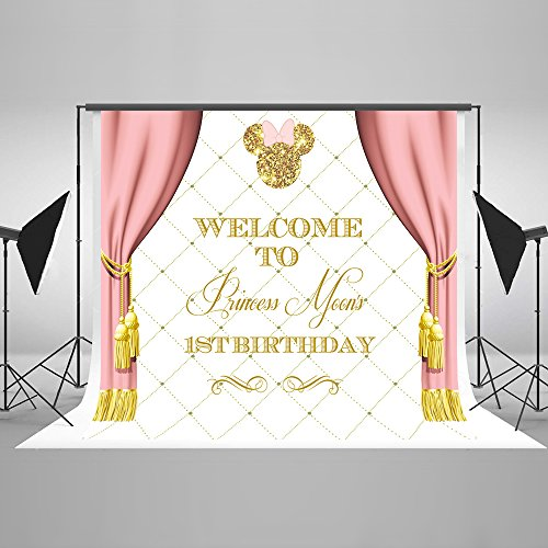 Photography Backdrop Birthday Banners Gold Background Backdrop Mickey Mouse 5x7ft Pink Curtain Custom Name Birthday Backdrop for Baby
