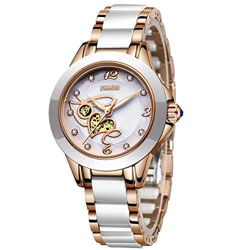 LIGE Damen Armbanduhr Frauen Mode Elegant Wasserdicht Analoger Quarz Uhr Weiblich Rosegold Weiß Keramik Business Uhren Weiß Zifferblatt Einfach Luxus Casaul Kleid Kalendar Damenuhr