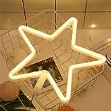 Watopi Star - Luz de neón, luz blanca cálida, luz de neón blanca cálida, con batería o USB como decoración de pared para habitación de niños, sala de estar, fiesta festiva
