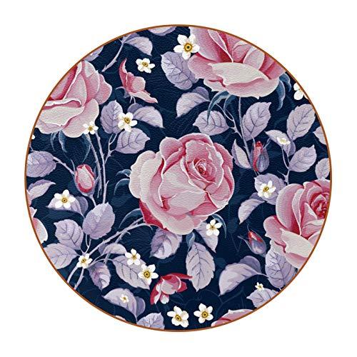 Bennigiry Lot de 6 dessous de verre ronds en forme de roses roses roses pour table, bar, café, vin, bière