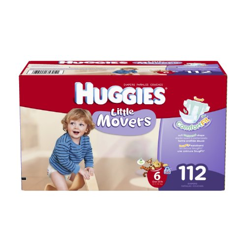 Price comparison product image Huggies Little Movers Diapers Economy Plus,  Size 6,  112 Count (packaging may vary)