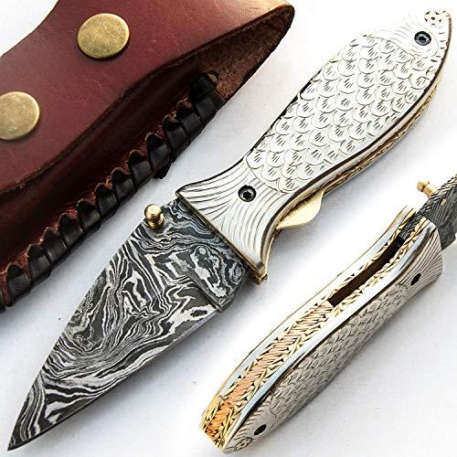 8980 - Cuchillo de acero de Damasco (hecho a mano, con vaina, calidad superior)