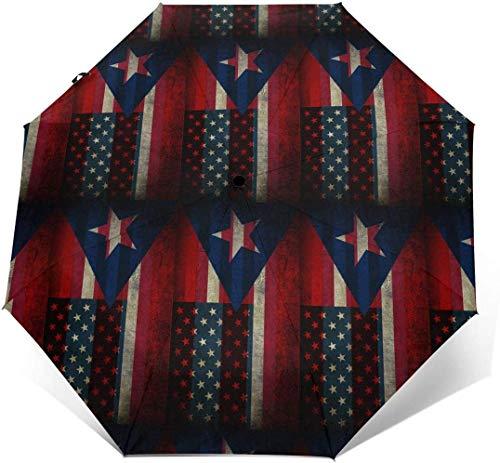 Paraguas automático de tres pliegues con bandera de Estados Unidos de Puerto Rico con estampado exterior