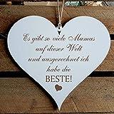 Dekoschild Schild Herz Spruch BESTE MAMA der Welt 13 x 12 cm Holzschild