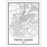 SKLHSIL Impresión De Lienzo, Arte Mural De Pared Moderno Brasil Porto Alegre Mapa Ciudad Simple Negro Blanco Póster Imagen Pintura Oficina Sala De Estar Hogar Dormitorio Decoración 50X70