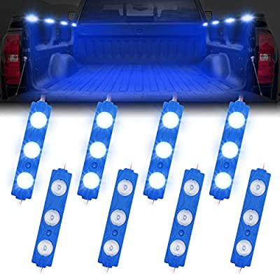 Truck Bed Lights, AAIWA Blue LED Rock Light for Truck Pickup Bed, 24 LEDs Off Road Under Car, Side Marker LED Rock Lighting Kit Blue - 8 PCS