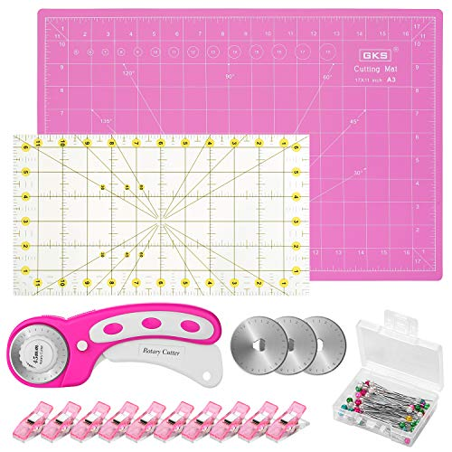 Rotary Cutter Kit, 45mm Rotary Cutter Tool Kit with Rotary Cutter, 12x18 Inch A3 Cutting Mat, Patchwork Ruler, 10 Fabric Clips, 50 pins and 3 Spare Blades