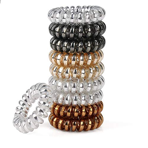 URBEST 10 Pcs Metallic Hair Coils, Tie Hair, Spiral Hair Ties, No Crease Hair Ties, Coil Ponytail Holder for Girls and Women (S, Multi-Colors)