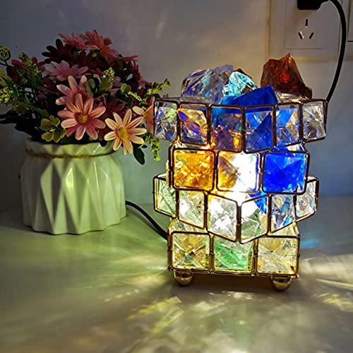 XCUGK Lámpara de Mesita de Cristal Lámpara de Sal de Cuatro Pisos Lámpara de Mesa pequeña Decorativa Moderna Elegante para decoración del hogar Sala de Estar Balcón Dormitorio