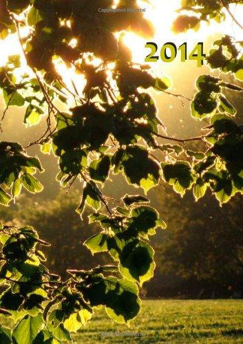 Kalender 2014 - Blätter in der Abendsonne: DIN A 5, 1 Woche auf 2 Seiten, Platz für Adressen und N