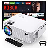"""Projector, 6500Lux Portable Mini Projector with 100"""" Projector Screen, 1080P Supported Outdoor Projector, Compatible with TV Stick/HDMI/VGA/USB/TV Box/Laptop/DVD/PS5 for Home Entertainment"""