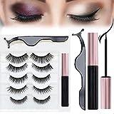 FineSource Lot de 5 paires de cils magnétiques avec eye-liner, effet naturel Faux cils magnétiques réutilisables, eyeliner magnétique et cils avec pince à épiler à l'intérieur, facile à porter