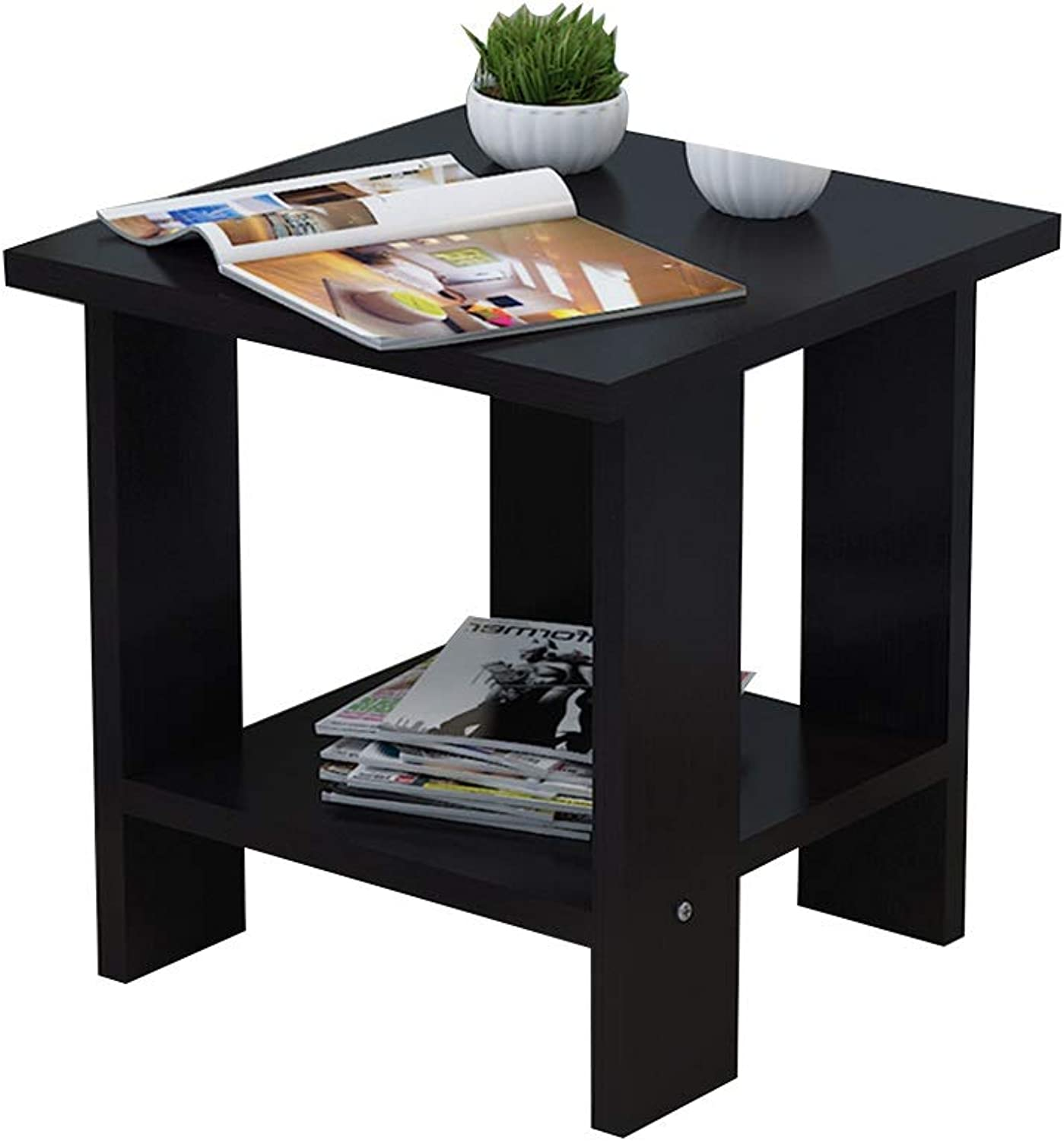 Coffee Table Side Table, Double Layer Storage Small Apartment Mini Solid Wood Telephone Table for Living Room Bedroom (Size   12  12  12.8 in)